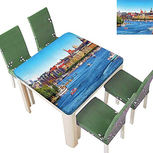 (Printsonne Fitted Polyester Tablecloth Bridge Fallen Pale Leav it Reach to an Autumn Picture Yellow Green Washable for Tablecloth 23 x 23 Inch (Elastic Edge))