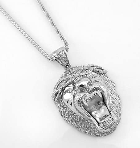 ICED OUT BIG SEAN LION KING PENDANT Silver Tone 36