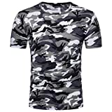 T-Shirt for Men, Forthery Mens Summer Camouflage Slim Fit Short Sleeve Henley Shirts (Gray, US M = Asia L)