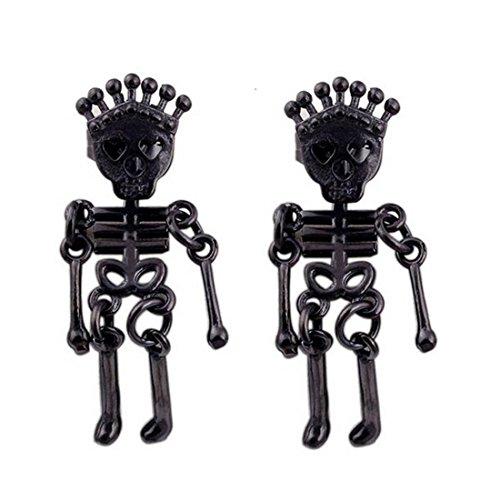 Hip Hop Faux Diamond Stud Earrings (Mens Womens Stainless Steel Crown Skull Skeleton Bone Stud Earrings Drop Dangle Halloween gifts (Black))