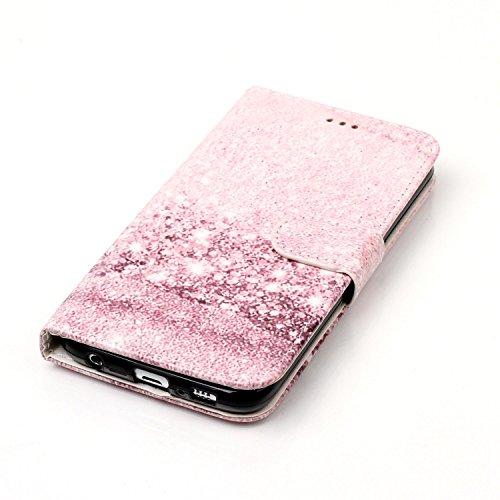 Funda Galaxy S6,SainCat Funda de cuero sintético tipo billetera con de Suave PU Carcasa Con Tapa y Cartera,Elegante Estuche Caja,Pintado en relieve árbol Cuero de la PU Leather Cubierta Plegable Flip  Oro rosa