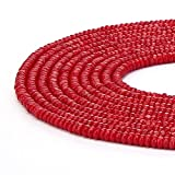 BRCbeads Natural Red Coral Gemstone Faceted Rondelle Loose Beads 4*6mm Approxi 15.5 inch 95pcs 1 Strand per Bag for Jewelry Making