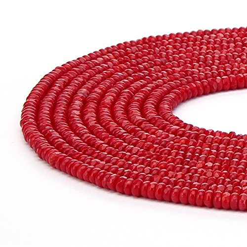 BRCbeads Natural Red Coral Gemstone Faceted Rondelle Loose Beads 2x4mm Approxi 15.5 inch 180pcs 1 Strand per Bag for Jewelry Making