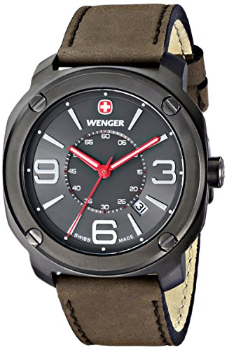 Wenger-Mens-011051104-Escort-Stainless-Steel-Watch-with-Brown-Leather-Band