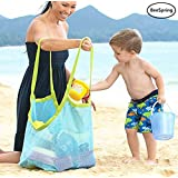Beach Mesh Tote Bag, BeeSpring Large Durable Beach Bag Tote(XL Size)Mesh Bag for Beach Family Children Play, Perfect for Beach, Swimming or Boating Holding Childrens' Toys (Blue Mesh)