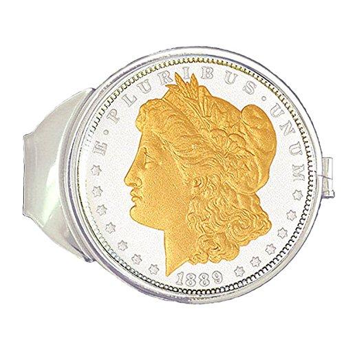 Dólares De Morgan Níquel Chapado Dinero Con De Oro Clip 24k En Plata Pura wnIq4nFf