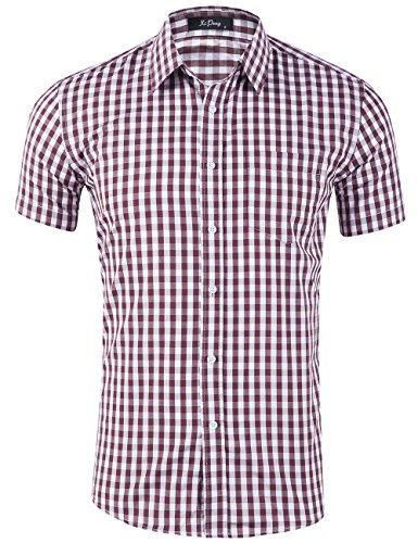- XI PENG Men's Casual Cotton Plaid Checkered Gingham Short Sleeve Dress Shirts (Brown Tartan, Large)
