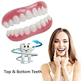 WOkismx Cosmetic Teeth, Snap on Instant Smile Upper Veneer Comfort Fit Flex Cosmetic Teeth One Size Fits Most Comfortable Denture,4pairs