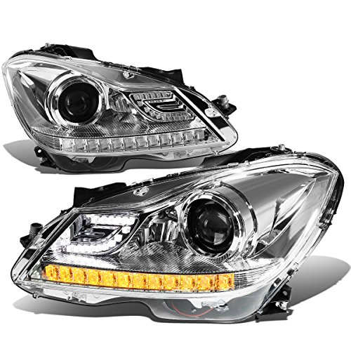 For 12-15 Mercedes Benz C-Class W204 Chrome Housing Projector Headlight w/3D Crystal Amber LED Signal - Pair