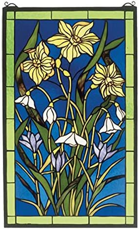 Meyda Tiffany 38738 Spring Bouquet Stained Glass Window Panel, 15 Width x 25 Height