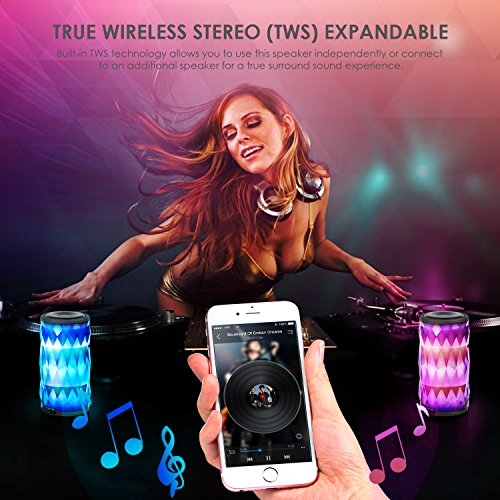 LED Bluetooth Speaker,Night Light Changing Wireless Speaker,MIANOVA Portable Wireless Bluetooth Speaker 6 Color LED Themes,Handsfree/Phone/ PC / MicroSD/ USB Disk/ AUX-In/TWS Supported