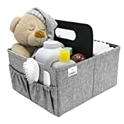 Sorbus Baby Diaper Caddy Organizer | Nursery Storage Bin for Diapers, Wipes & Toys | Portable Car Storage Basket | Changing Table Organizer | Great Baby Shower Gift Basket (Gray)