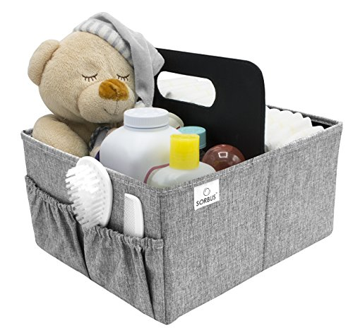 (Sorbus Baby Diaper Caddy Organizer - Nursery Essentials Storage Bin for Diapers, Wipes & Toys, Newborn & Infant Portable Car Travel Storage Bag, Changing Table Organizer, Great Baby Shower Gift (Gray))