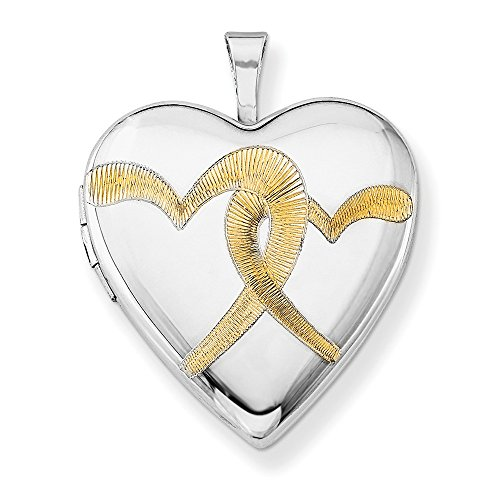 Sterling Silver Polished Holds 2 photos Gold-Flashed Linked Hearts 20mm Heart Locket
