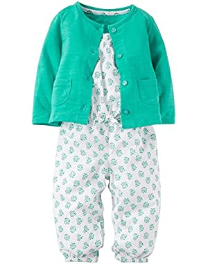 Carters Romper and Cardigan Set - Baby Girls newb