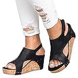 Syktkmx Womens Cutout Open Toe Platform Wedges Slingback Ankle Strap Cork Heeled Sandals