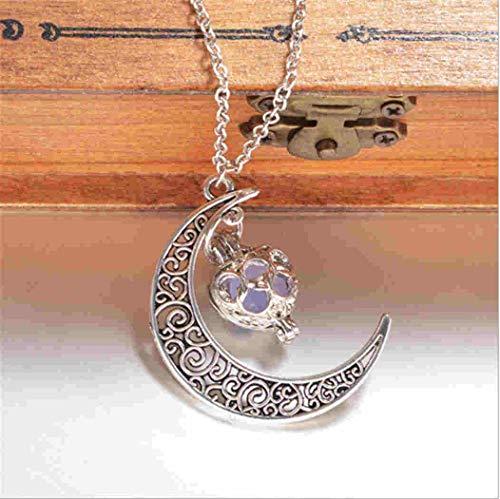 - Luminous Pearl Star Moon Pendant Chain Stone Luminous Necklace
