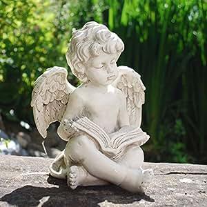 Cherub leyendo un libro efecto piedra adorno impermeable polirresina figura