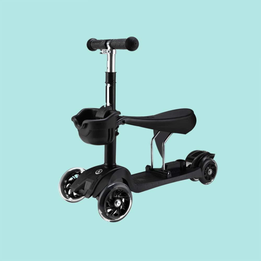 respuestas rápidas negro LIJIAN LIJIAN LIJIAN Scooter de niños con PU Asa De Rueda Altura Ajustable Ajustable para 2-6 Años negro  alta calidad