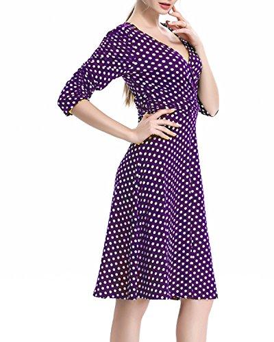 Neck Half Casual 3XL Polka Sleeves V S Womens Kenancy Dress Flare Purple Ruched Dress za4SW