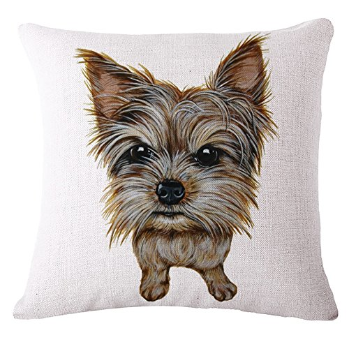 Ollypet Pet Lovers Pillowcase Cute Cover Decorative Yorkie Printed Dog Pillow Bed Couch 18 inches