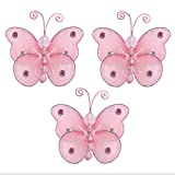 "Baby : Butterfly Decor 3"" Pink Mini X-Small Wire Hanging Nylon Mesh Butterflies 3 Piece Decorations Set Decorate Baby Nursery Bedroom Girls Room Wall Wedding Birthday Party Shower Crafts Scrapbooks Invitation DIY"