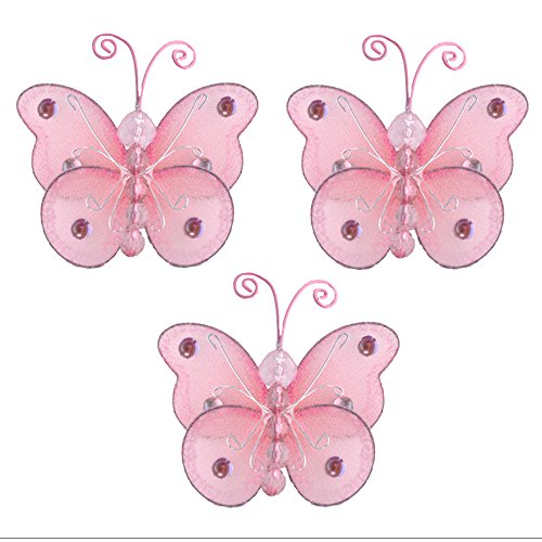 Butterfly Decor 3 Pink Mini X-Small Wire Hanging Nylon Mesh Butterflies 3 Piece Decorations Set Decorate Baby Nursery Bedroom Girls Room Wall Wedding Birthday Party Shower Crafts DIY