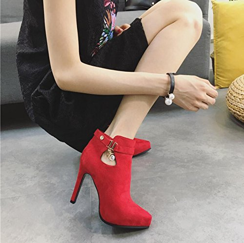 And Fine KHSKX Shoe High 35 Winter Drilling Water Side 10Cm Tip Boots Exposed Waterproof Girl Taiwan Zipper With New Red Female Boots Heeled OHFOrqf