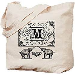 CafePress - Letter M Ornate Circus Elephants Monogram Totebag - Natural Canvas Tote Bag, Cloth Shopping Bag
