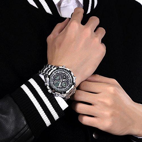GOLDEN HOUR Luxury Stainless Steel Analog Digital Watches for Men Male Outdoor Sport Waterproof Big Heavy Wristwatch 7