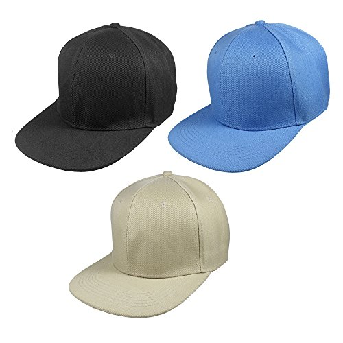 Gelante Plain Blank 6 Panels Flat Brim Adjustable Snapback Baseball Caps - Set of 3 Pieces -1500-BK-KH-SB ()