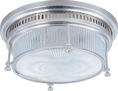 Maxim 25000CLSN Hi-Bay 2-Light Flush Mount, Satin Nickel Finish, Clear Halophane Glass, MB Incandescent Incandescent Bulb , 60W Max., Dry Safety Rating, Standard Dimmable, Glass Shade Material, Rated Lumens ()