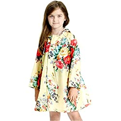 Children's Peony Print Hooded Waterproof Raincoat