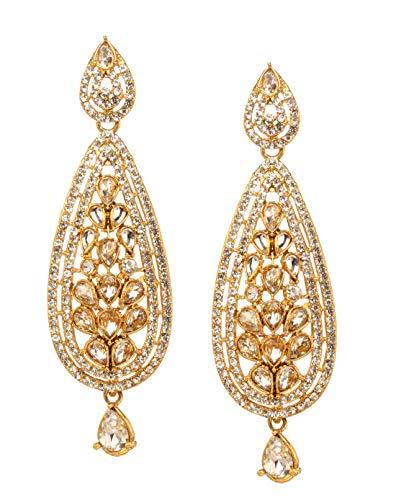 (Bindhani Traditional Indian Bollywood Jewelry Fashion Ethnic Bride Bridesmaid Bridal Bollywood Gold Plated Wedding Jewellery Kundan Rhinestone Stone Long Dangle Drop Long Earrings For Women)