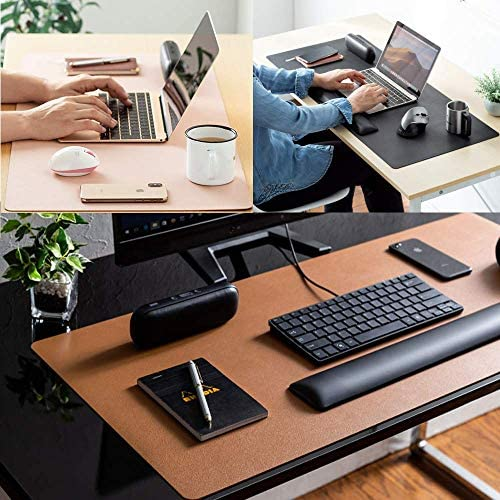 "Leather Desk Pad Protector,Mouse Pad,Office Desk Mat, Non-Slip PU Leather Desk Blotter,Laptop Desk Pad,Waterproof Desk Writing Pad for Office and Home (31.5"" x 15.7"", Rose Red)"