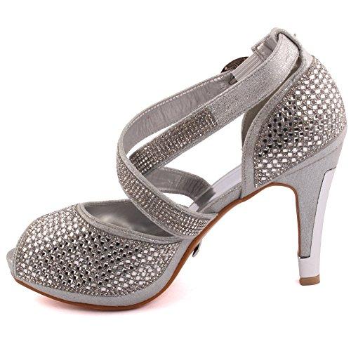 Unze Nuevas señoras de las mujeres 'Elizza' Crystal Diamante acentuado baja mediados de la tarde del talón de estilete, Wedding, Sandalias del partido del baile de fin de curso talones Tamaño 3-8 Plateado