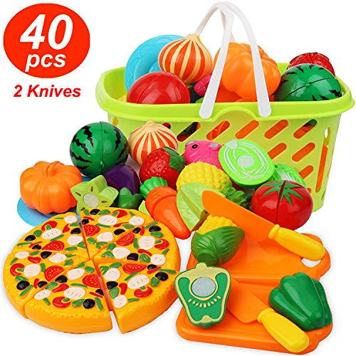 Cutting Play Food Kitchen Pretend - Grocery Basket Toys for Kids 40pcs Children Girls Boys Educational Early Age Basic Skills Development, Include Fruits Vegetables Pizza Knife Mini Dishes -