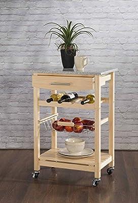 Granite Top Kitchen Cart - Natural Base