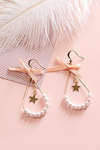 Cute Earrings Earring Dangler Eardrop Women Girls Woman Gift Creative Alloy Necklace Pendant Pearl Curved Hook Ear Jewelry (Strand of Pearls Oval Frames # 13