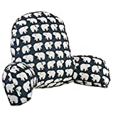 Large Cotton Bed Reading Rest Watching TV Waist Pillow Back Cushion with Arm Support Chair Car Seat Sofa Rest Lumbar Cushion (Large, Bear pattern)