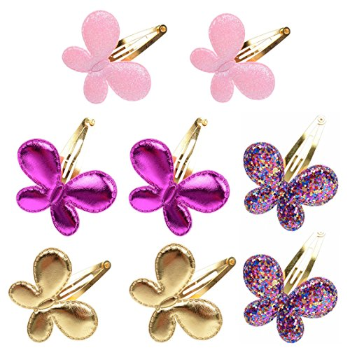 (8Pcs Girls Fashion Sequins Butterfly Barrettes Glitter BB Hair Clips Kids Children Hairpins Headwear Accessories)