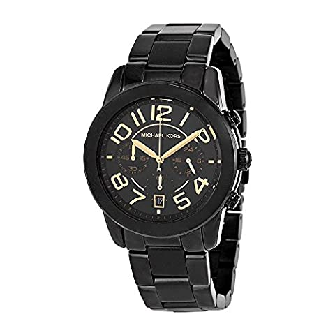 Michael Kors Mercer Chronograph Black Dial Black-plated Ladies Watch MK5858 (Gold Mercer Watch)