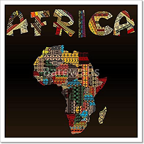 Africa Map With African Typography Made Of Patchwork Fabric Texture Paper Print Wall Art (16 in. x 16 in.) Barewalls Inc.