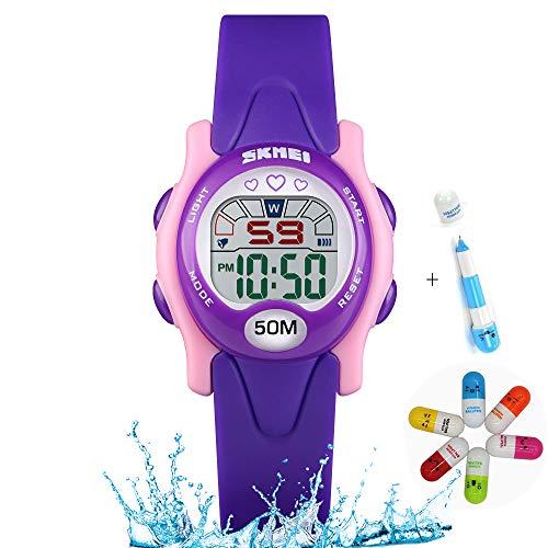 Girls Watch, Kids Colorful Digital Sports Waterproof LED with Alarm Calendar Chronograph Electronic Watch Student Watch (Purple)
