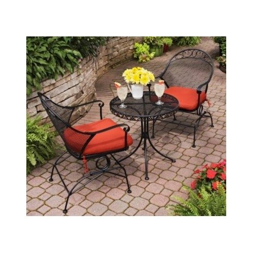 Delightful Clayton Court 3 Piece Motion Outdoor Bistro Set, Red, Seats 2
