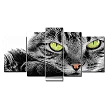 Black And White 5 Panel Wall Art Painting Green Eye Cat Pictures Prints On Canvas Animal The Picture Decor Oil For Home Modern Decoration Print