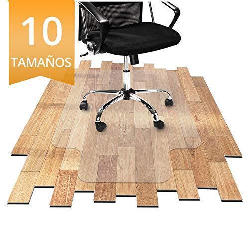 OfficeMarshal Protector Escritorio Transparente - Alfombra Oficina para Silla con Ruedas | Uso para Suelo Duro | PVC | Muchos tamanos (90x120 cm con lengueta)