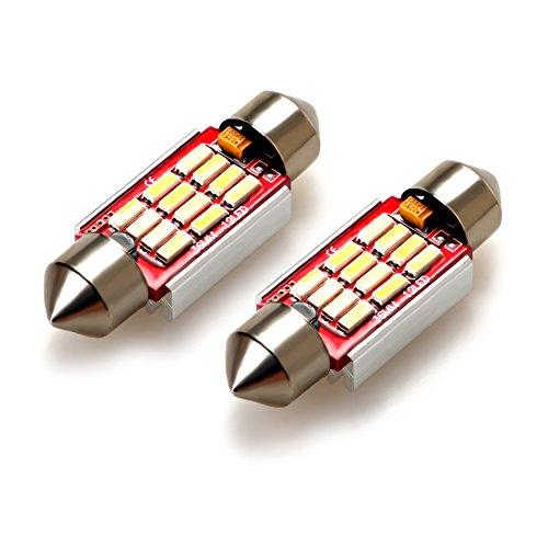 Lamp 12v Ac Festoon - iDlumina Festoon 36mm C5W 6486X DE3423 DE3425 6461 6418 12844 12854 12V 6500K Pure White Canbus Error Free LED Car Light Bulb 12X4014SMD (Pack of 2)