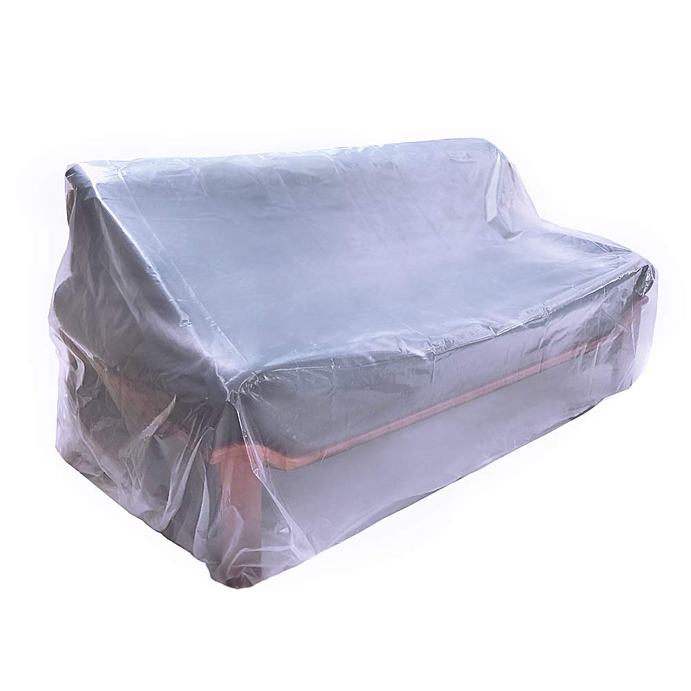 HGMart Plastic Outdoor Loveseat Cover 5.5 Mil Extra Thick Pet Dog Cat Furniture Cover Waterproof Dust-Proof for Garden Lawn Patio Furniture Protector Loveseat