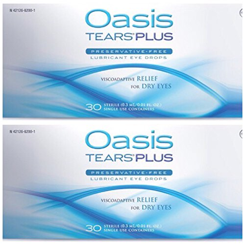 Acuvue 2 Contact Lenses - Oasis TEARS PLUS Lubricant Eye Drops Relief For Dry Eyes, 30 Count Box Sterile Disposable Containers (Pack of 2)
